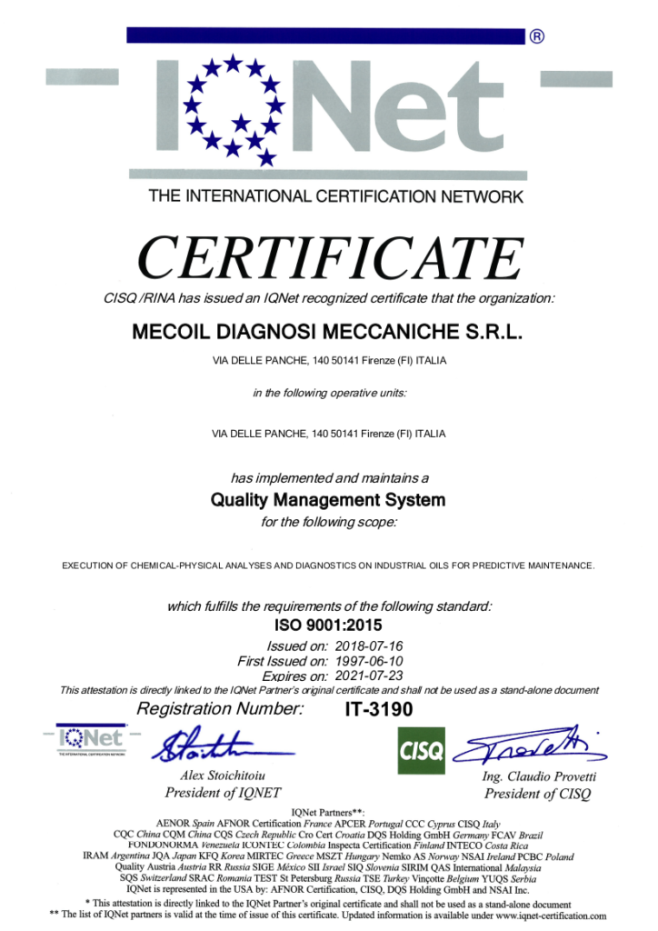 2018 Certificato Mecoil IQNET